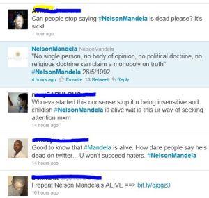 Twitter Nelson Mandela dead Rumour